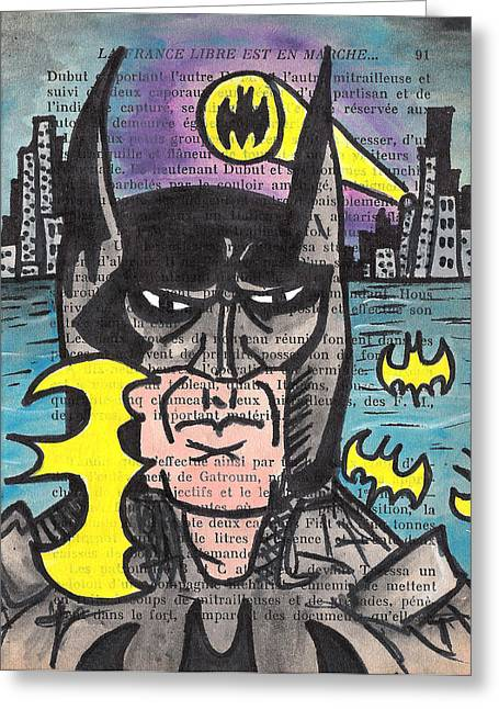 Gotham City Paintings Greeting Cards - B-Man Greeting Card by Jera Sky