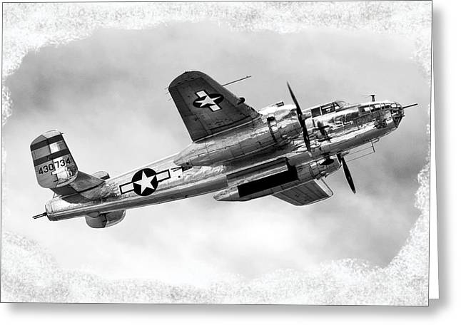 Helicopter Photographs Greeting Cards - B25 In Flight Greeting Card by Greg Fortier