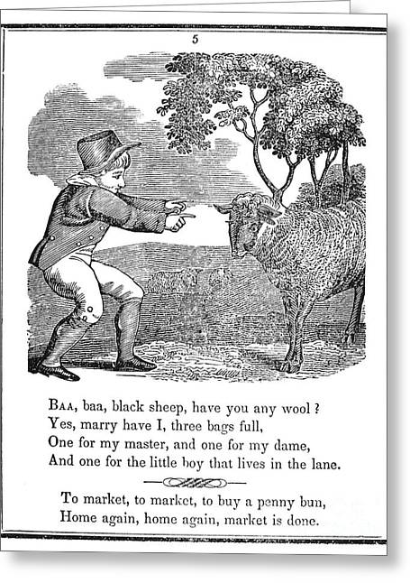 Mother Goose Greeting Cards - Baa, Baa, Black Sheep, 1833 Greeting Card by Granger