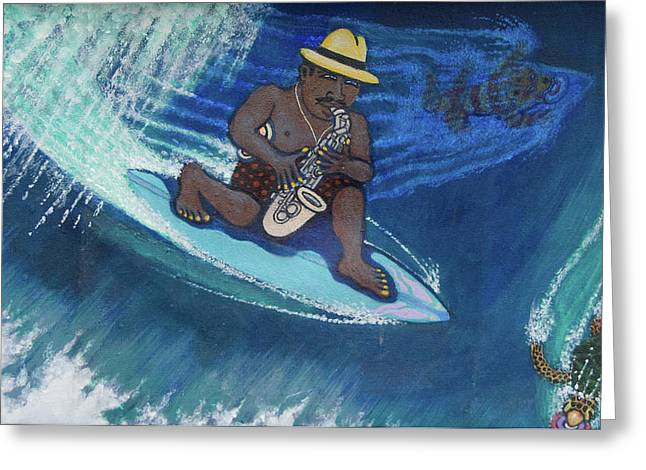 Baba Paintings Greeting Cards - Baba Louie-Surfing Sax Frisbee Player Greeting Card by Dickens Fourtyfour