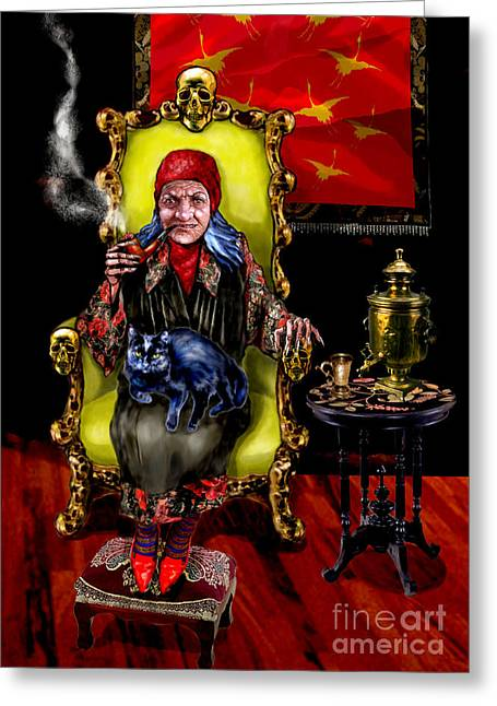 Foot Stool Greeting Cards - Baba Yaga Greeting Card by Elinor Mavor