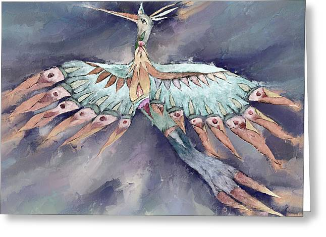 Mythical Series Greeting Cards - Babalth - B Greeting Card by Linda Cornelius
