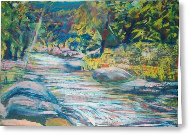 Brook Pastels Greeting Cards - Babbling Brook Greeting Card by Richalyn Marquez