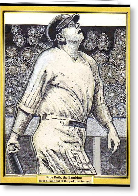 Red Soxs Greeting Cards - Babe Ruth hits one out of the park  Greeting Card by Ray Tapajna