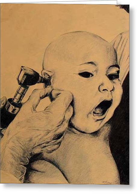 Tim Mixed Media Greeting Cards - Babies checkup Greeting Card by Tim Foley