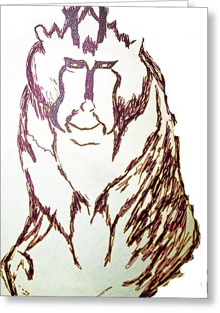 Roberto Edmanson-harrison Greeting Cards - Baboon Study Greeting Card by Roberto Edmanson-Harrison
