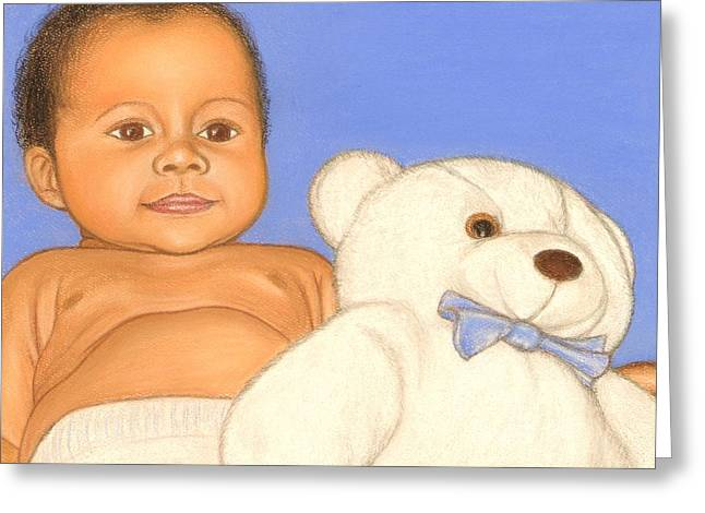 African-american Pastels Greeting Cards - Baby and Bear Greeting Card by Paula  Parker