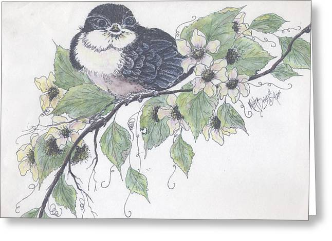 Barn Pen And Ink Greeting Cards - Baby Barn Swallow Greeting Card by Meldra Driscoll