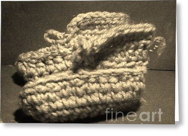 Christian Tapestries - Textiles Greeting Cards - Baby Booties Black and White Greeting Card by Jamey Balester
