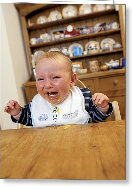 7 Months Greeting Cards - Baby Boy Crying Greeting Card by Tek Image