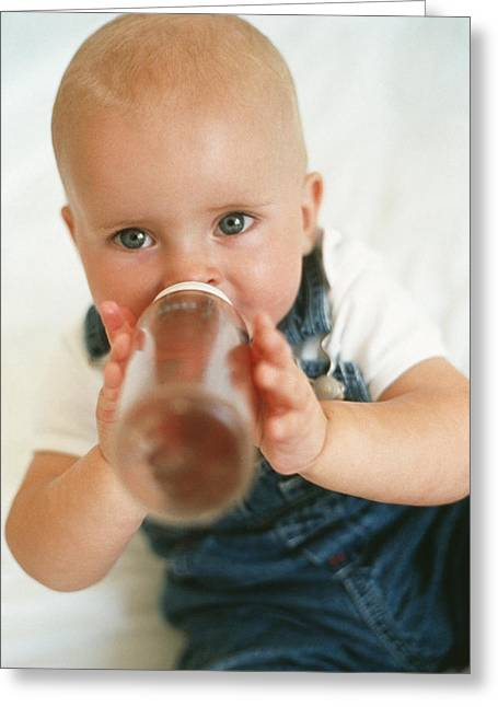 Child Care Greeting Cards - Baby Boy Drinking Greeting Card by Ian Boddy