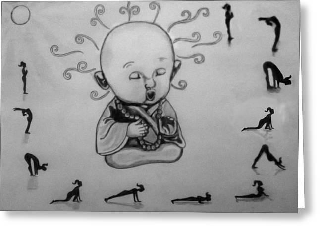 Baby Buddha Greeting Card by Shashi Kumar