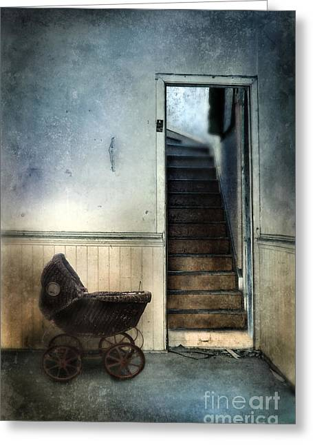 Wooden Stairs Greeting Cards - Baby Buggy in Abandoned House Greeting Card by Jill Battaglia
