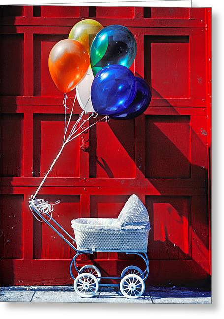 Babies Greeting Cards - Baby buggy with balloons  Greeting Card by Garry Gay