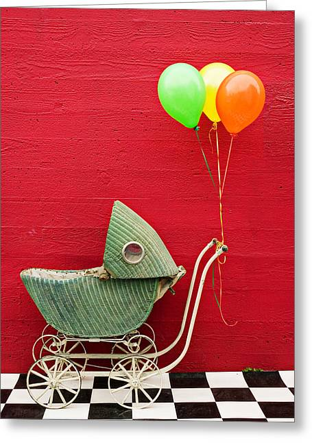 Babies Greeting Cards - Baby buggy with red wall Greeting Card by Garry Gay