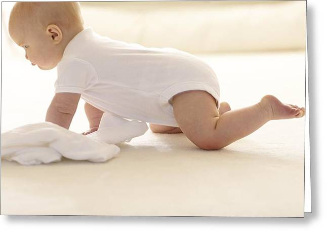 Child Care Greeting Cards - Baby Crawling Greeting Card by Ruth Jenkinson