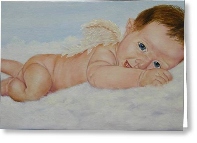 Infant Greeting Cards - Baby Cupid Greeting Card by Joni McPherson