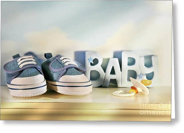 Baby denim shoes Greeting Card by Sandra Cunningham