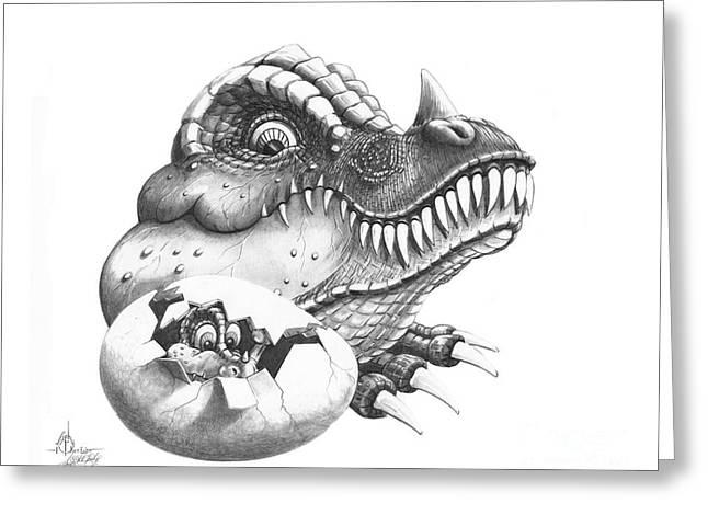 Dinosaurs Drawings Greeting Cards - Baby Dinosaur Greeting Card by Murphy Elliott