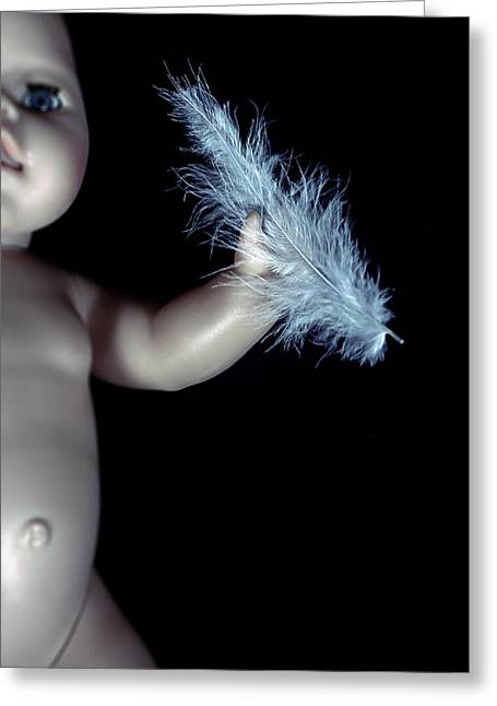 Doll Photographs Greeting Cards - Baby Doll With Feather Greeting Card by Joana Kruse