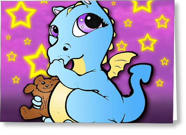 Son Pastels Greeting Cards - Baby Dragon Sucking Thumb Blue Greeting Card by Lisa A Bello