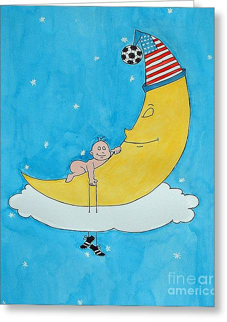 American Soccer Prints Greeting Cards - Baby Dreaming on the Moon Greeting Card by Claudiu Radulescu
