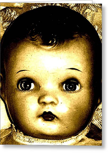 Art Product Mixed Media Greeting Cards - Baby Face Greeting Card by Debra  Barrington