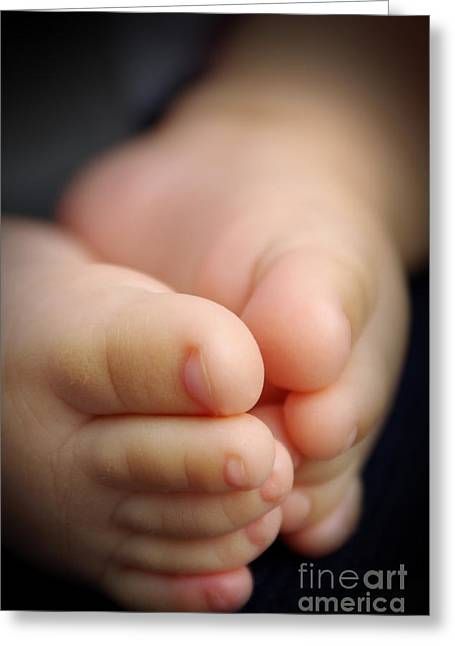 Development Greeting Cards - Baby feet Greeting Card by Carlos Caetano