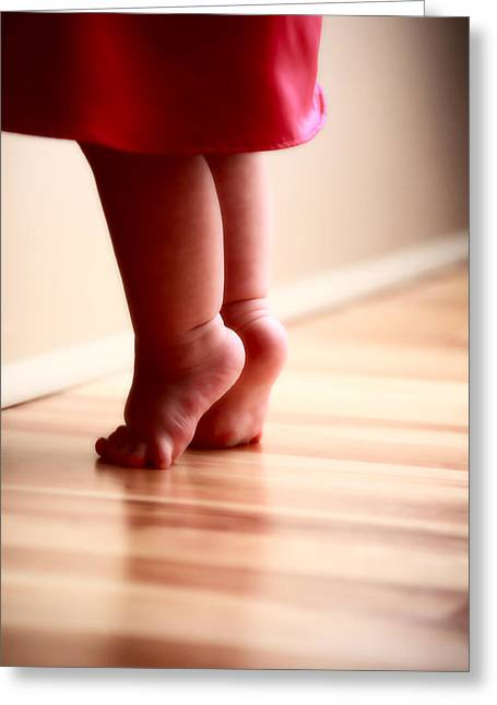 Innocence Child Digital Art Greeting Cards - Baby Feet Stretching on Wooden Floor Greeting Card by Mark Duffy