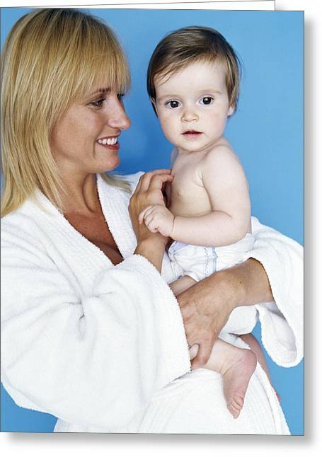 Bathrobe Greeting Cards - Baby Girl And Mother Greeting Card by Ian Boddy