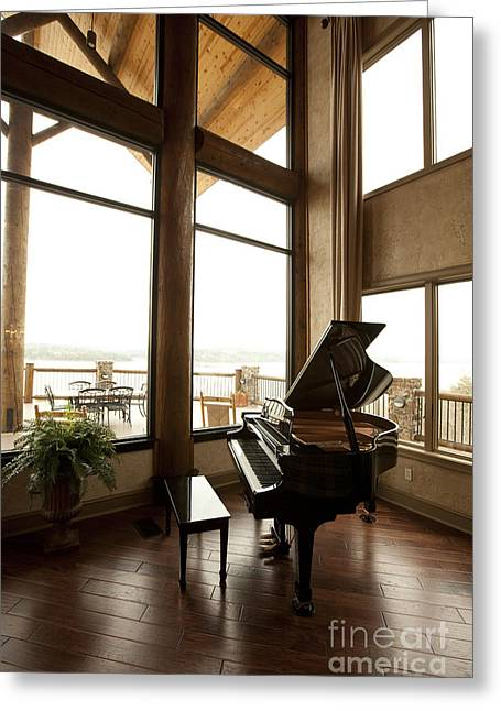 Chalet Decor Greeting Cards - Baby Grand Piano in a Corner Greeting Card by Will and Deni McIntyre