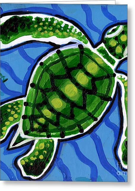 Green Sea Print Greeting Cards - Baby Green Sea Turtle Greeting Card by Genevieve Esson