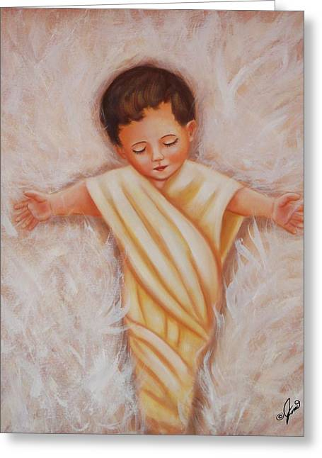 Infant Greeting Cards - Baby Jesus Greeting Card by Joni McPherson