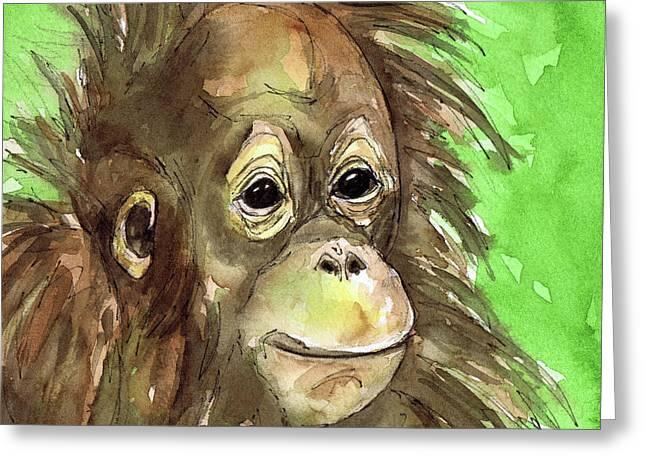 Orangutan Greeting Cards - Baby orangutan wildlife painting Greeting Card by Cherilynn Wood