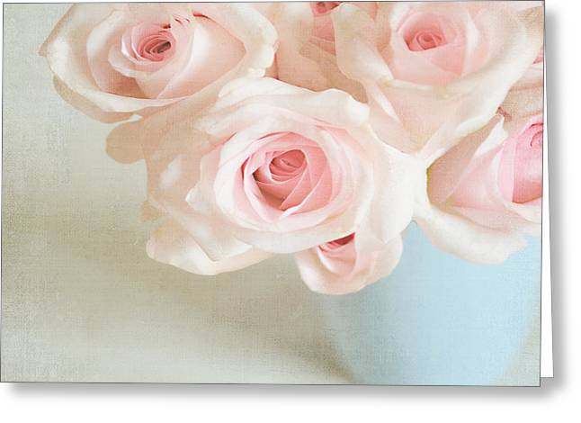 Lyn Randle Greeting Cards - Baby Pink Roses Greeting Card by Lyn Randle
