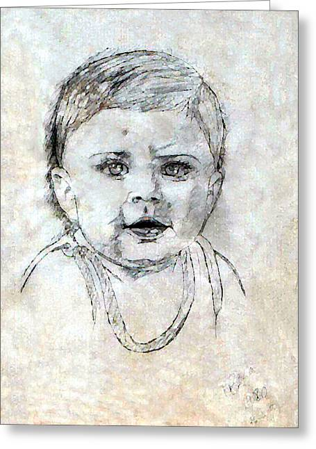 Pablo Mixed Media Greeting Cards - Baby Portrait  Greeting Card by Madalena Lobao-Tello