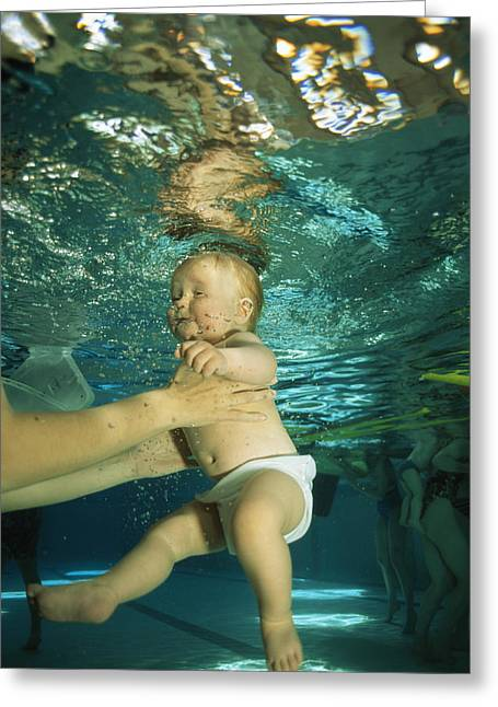 Reflex Greeting Cards - Baby Swimming Greeting Card by Alexis Rosenfeld