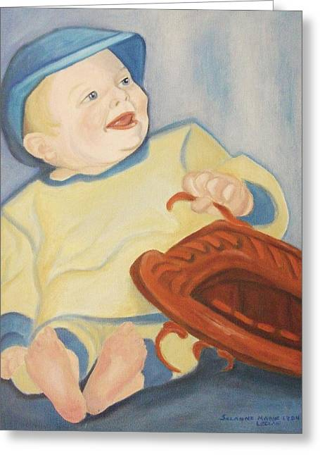 Suzanne Marie Leclair Paintings Greeting Cards - Baby with Baseball Glove Greeting Card by Suzanne  Marie Leclair