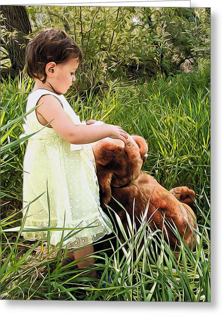 Child With Teddy Bear Greeting Cards - Baby With Teddy Bear Greeting Card by James Steele