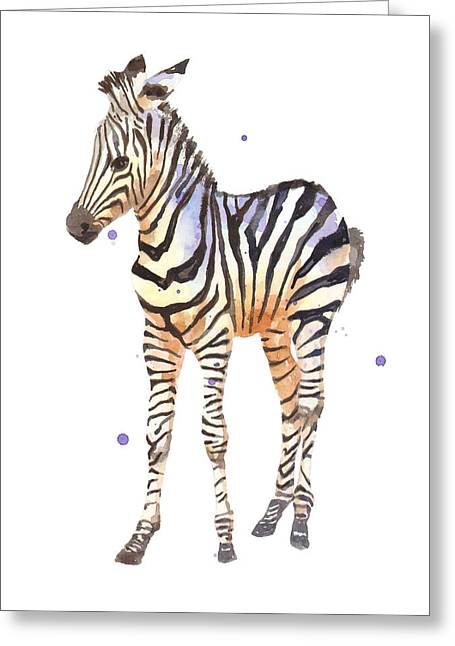 Wildlife Watercolor Greeting Cards - Baby Zebra Nursery animal art Greeting Card by Alison Fennell