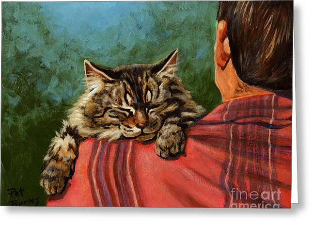 Cat Sleeping Greeting Cards - Babyface Greeting Card by Pat Burns