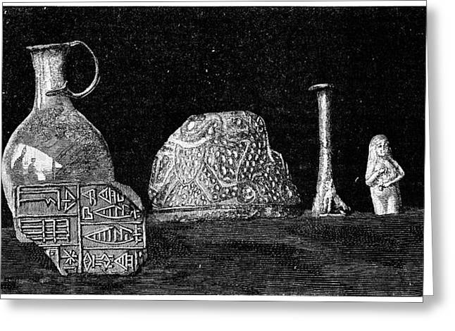 Artefact Greeting Cards - Babylonian Artefacts, 19th Century Greeting Card by