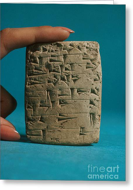 Babylonian Greeting Cards - Babylonian Clay Tablet Greeting Card by Science Source