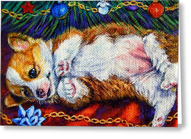 Puppy Christmas Greeting Cards - Babys First Christmas - Pembroke Welsh Corgi Greeting Card by Lyn Cook