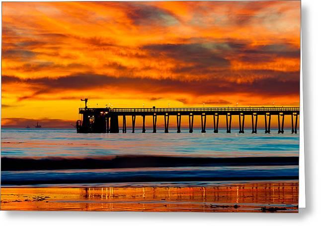 Nahmias Greeting Cards - Bacara Haskell Beach and pier Santa Barbara  Greeting Card by Eyal Nahmias