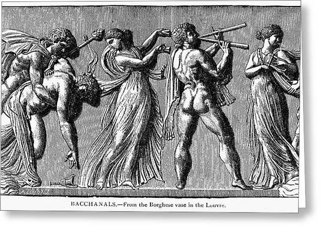 Bacchanal Scene Greeting Card by Granger