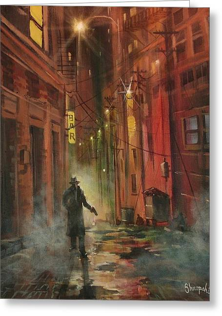 Film Noir Paintings Greeting Cards - Back Alley Justice Greeting Card by Tom Shropshire