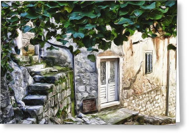 Back Alley Living Greeting Card by Janet Fikar