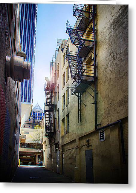 Taking Photographs Greeting Cards - Back Alley Work Greeting Card by James Heckt