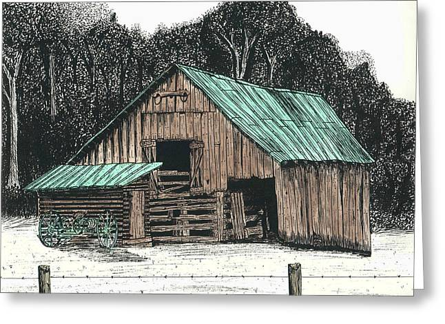 Best Sellers -  - Barn Pen And Ink Greeting Cards - Back By The Barn Greeting Card by Mike OBrien